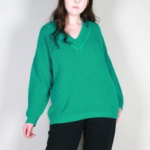 Teal Green Deep V neck Knitted Sweater